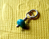 Faceted  Sleeping Beauty Turquoise Small Gemstone Dangle Charm