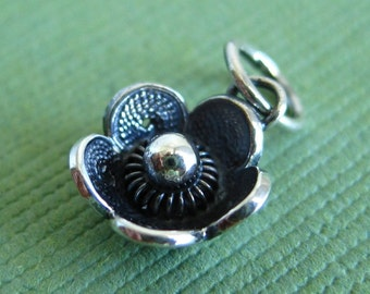 Sterling Silver Antiqued Filigree Flower Charm