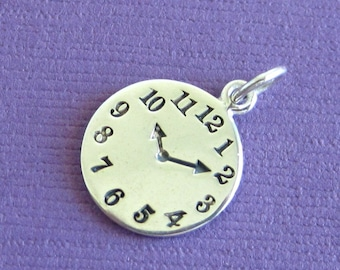 Sterling Silver Stamped Clock Disc Charm