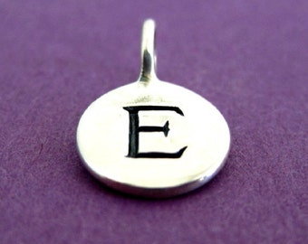 Sterling Silver Alphabet Letter E Initial Charm
