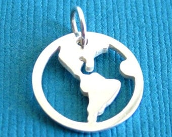 Sterling Silver  America Disc Tag Charm