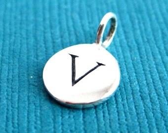 Sterling Silver Alphabet Letter V Initial Charm
