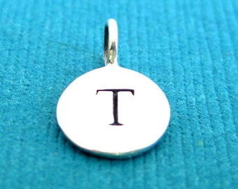 Sterling Silver Alphabet Letter T Initial Charm