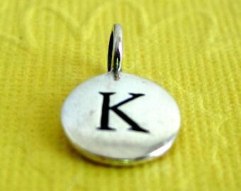 Sterling Silver Alphabet Letter K Initial Charm
