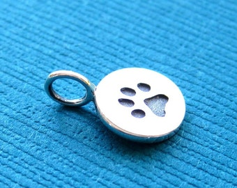 Sterling Silver Stamped Paw Print  Disc Tag Charm