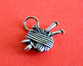 Sterling Silver Yarn and Needles Charm