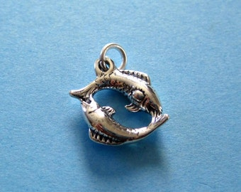 Sterling Silver Pisces  Zodiac  Sign Charm