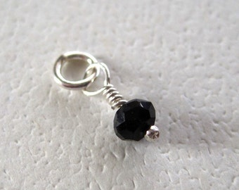 Faceted Black Spinel Petite Gemstone Dangle Charm