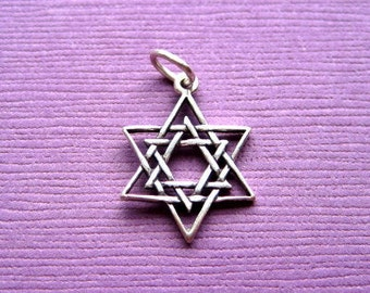 Sterling Silver  Star Of David Pendant  Charm