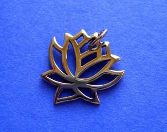 Bronze Lotus Flower Medium Openwork Pendant Charm
