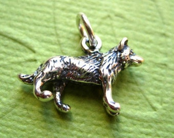 Sterling Silver 3D  Wolf Pendant or Charm