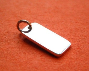 Sterling Silver  Blank Oblong Stamping Tag Charm