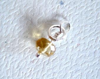 Faceted Honey Citrine Gemstone Dangle Charm