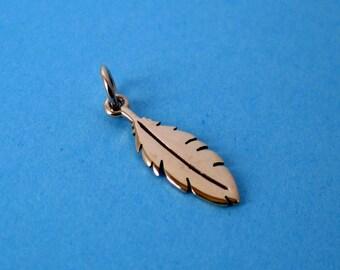 Bronze Feather Pendant  Charm