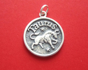 Sterling Silver Taurus  Zodiac  Sign Medallion Pendant Charm