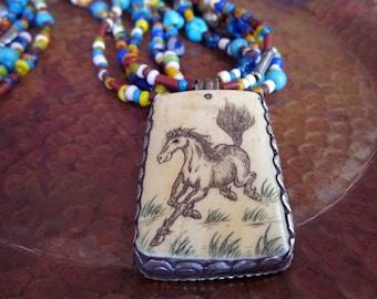 Retro Ranch Multi Strand Bead Horse Pendant Necklace