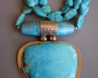 Silversmith Women's Necklaces, Turquoise Statement Necklaces, Double D Ranch Style, Multi Strand Women's Necklace
