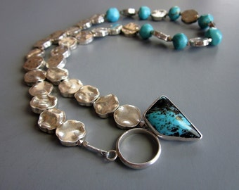 Handcrafted Sterling Silver Turquoise necklace - Capri
