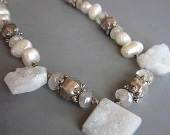 Artisan Handcrafted Druzy Pearl Women's Necklace, Wedding, Bridal, Gemstone Necklace, White Druzy