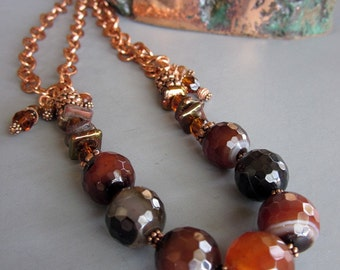 Brown Agate Copper Chain Necklace, Women's Gemstone Necklace, Artisan Copper Necklace