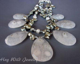 Light Blue Solar Quartz Pearl Multi Strand Necklace