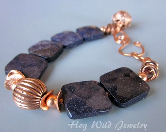 Copper and Blue Goldstone Square Bead Bracelet