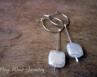 Handcrafted Sterling Silver Hoops with square Pearls