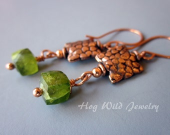 Copper and green Vesuvianite Dangle Earrings