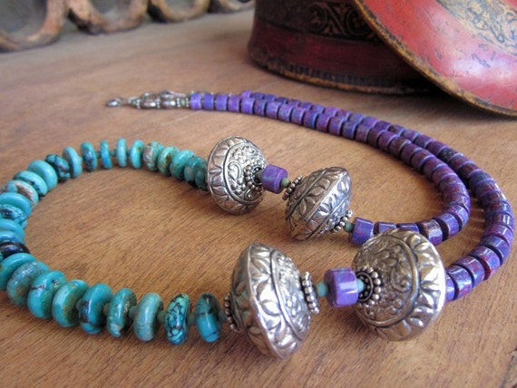 Tombstone turquoise and silver Necklace