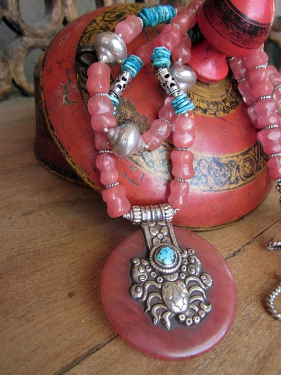 Turkish Delights strawberry quartz turquoise Necklace