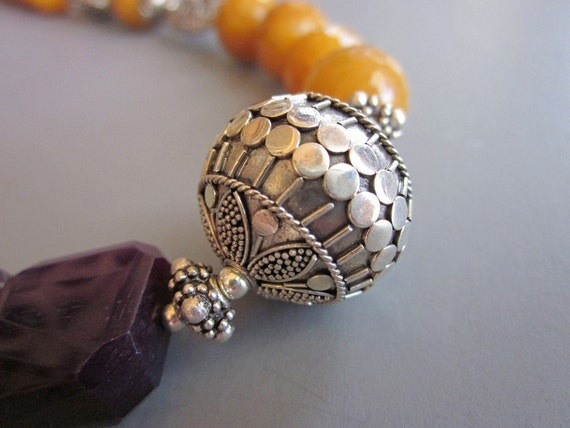 Purple Agate and Mustard Yellow Jade Necklace