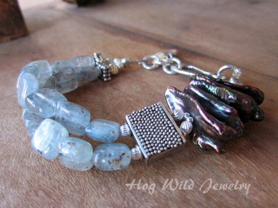 Peacock Freshwater Stick Pearls and Blue Kyanite Bead Cuff Bracelet