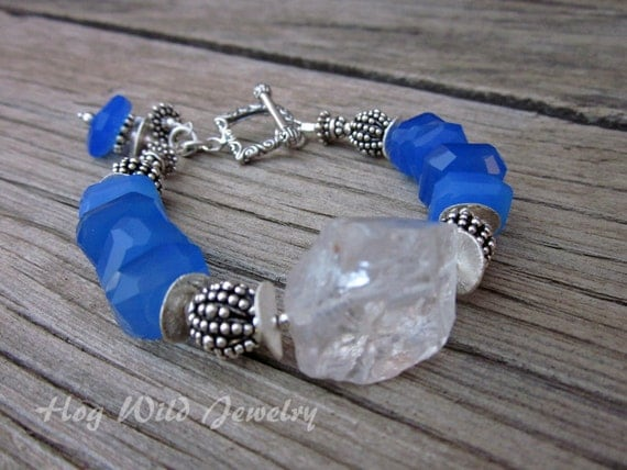 Blue Chalcedony and Quartz  Sterling Silver Bracelet