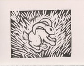 Bunny Linocut on Reeves BFK print black and white