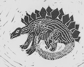 Stegosaurus Linocut Print