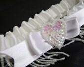 Flapper Style White Bead Fringe Wedding Garter