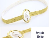 White Pearl in Gold Band Garter