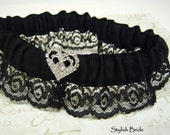 Simple and Sexy Black Garter with Rhinestone Heart