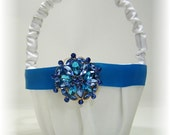 White Flower Girl Basket with Turquoise Trim and Crystals in Shades of Blue