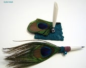 Peacock Feather Pen Set Wedding Guest Sign In and  Home Decor