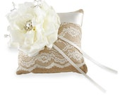 Burlap Ring Bearer Pillow with Ivory Lace, Rose, Pearls and Crystals