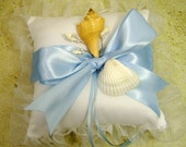 Ring Bearer Pillow with Sea Shells for Beach Wedding READY TO SHIP