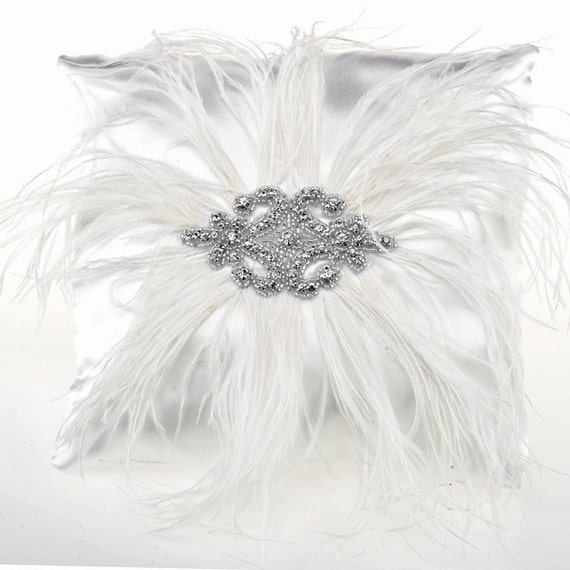 Ostrich Feather and Crystal Rhinestone on White Satin Ring Bearer Pillow