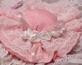 Pincushion Hat - Pink and White with Roses