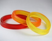 Resin Stacking Bangles in Red, Orange and Yellow