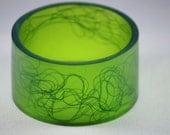 Chunky Resin Cuff Style Bangle in Forest Green