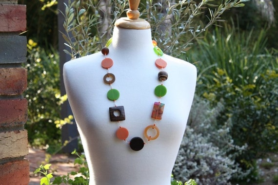 Orange, Brown and Green Chunky Resin Necklace