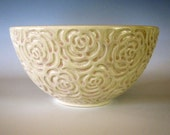 CLEARANCE - Ceramic Serving Bowl Pearl Rose Carved Bowl Pottery