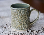 Warm Pottery Coffee Mug in Dark Olive Green Rose Carved