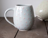 Pottery Coffee Mug - Polka Dot Belly Mug - Large Ceramic Cup - Pale Blue and Red